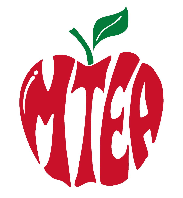The letters MTEA form an apple shape